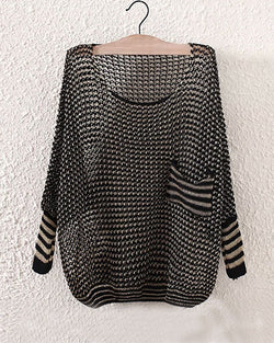 Black Crochet Round Neck Hollow Out Batwing Jumper With Pocket Patch ST0230039-2