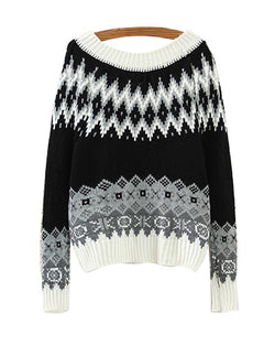 Black Geometric Patterns Print Round Neck Knitted Sweater ST0230117-1