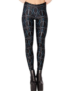 Black Geometric Patterns Print Skinny Elastic Leggings TR0290035