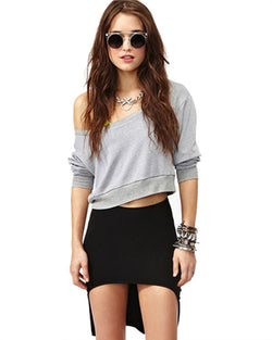 Black High-Low Mini Knit Skirt DR0130172