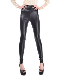 Black High Waist Skinny PU Leggings TR0290098-1