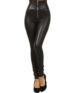 Black High Waist Skinny PU Leggings With Zipper TR0290093
