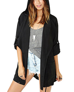 Black Hooded Waterfall Lapel Duster Coat JA0130001-1