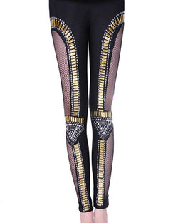 Black Mesh Patch Skinny Leggings With Rivets TR0290105