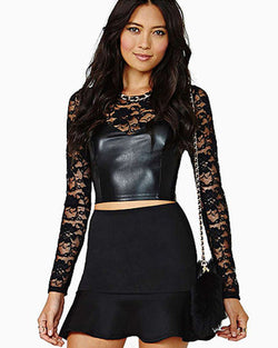 Black Rose Lace Short Shirt DR0130167