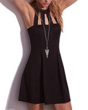 Black Round Neck Sleeveless Frilled Mini Dress With Cage Detail DR0130227