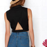 Black Sexy&Club Polo Neck Cross Back Cropped Sleeveless Polyester Chiffon Blouse-BL0310009-1