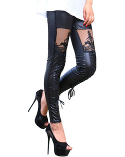 Black Skinny Bandage Leggings With Thigh Lace Patch TR0290099