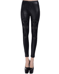 Black Skinny PU Leggings With Beading Details TR0290173