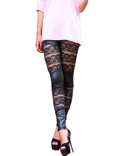 Black Skinny PU Leggings With Lace And Mesh Insert TR0290120