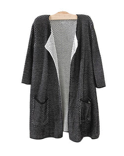 Black Three Quarter Sleeve Longerline Cardigan With Pockets JA0230003-2