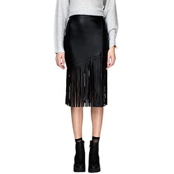 Black Vintage High-Waist Patchwork Skinny Polyester Skirt With Tassels-SK0310002