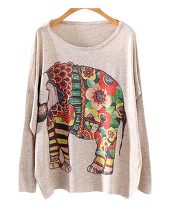 Blossom And Elephant Print Round Neck Batwing Jumper ST0230022