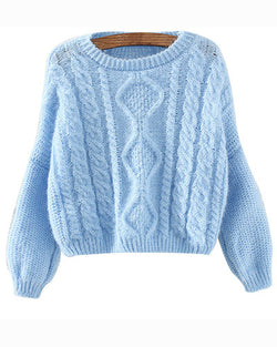 Blue Bat Sleeve Cropped Cable Knit Sweater With Split Back ST0230104-3