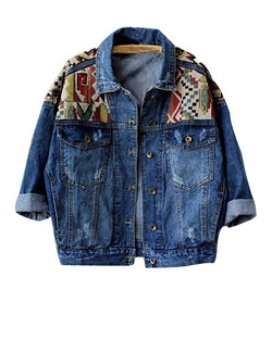 Blue Bat Sleeve Denim Jacket With Print Detail JA0230008