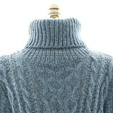 Blue Casual High Neck Cable Knit Pullover Polyester Jumper-ST0230138-3
