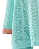 Blue Crochet Knit Cardigan With Color Contrast Pockets ST0230077-1