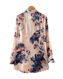 Blue Ink Flowers Print Long Sleeve Loose Cotton Shirt BL0230007-2