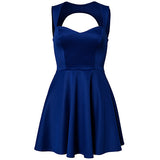 Blue Vintage Strapless Sleeveless Waisted Polyester Skater Dress-DR0310033-2