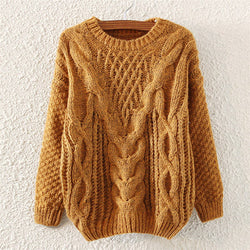 Brown Casual Crew Neck Cable Knit Pullover Polyester Jumper-ST0230137-2
