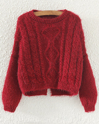 Burgundy Bat Sleeve Cropped Cable Knit Sweater With Split Back