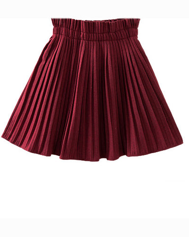 Burgundy High Waist Woolen Pleated Skirt SK0230003-1