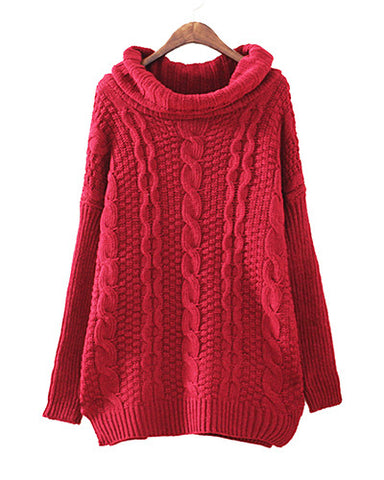 Burgundy Roll Neck Cable Knit Jumper In Longer Length ST0230049-3