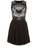 Black Cotton Cat Print Skater Dress DR0130006