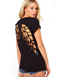 Black Cotton Angel Wings Mesh Back T Shirt DR0130026