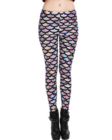 Colorful Fish Scale Print Ankle Grazer Elastic Leggings TR0290017