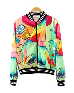 Colorful Patterns Print Autumn Bomber Jacket JA0230004