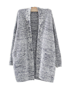 Dark Blue Mix Knit Longerline Cardigan With Pockets JA0230002-1