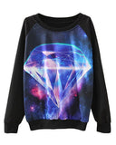 Diamond Cosmos Print Round Neck Sweatshirt SS0230003-6