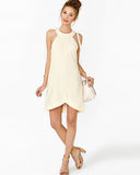 Beige Chiffon Sleeveless Asymmetrical Dress DR0130093
