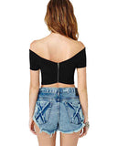 Black Lycra Cross Front Zipper Back T Shirt DR0130011