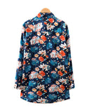Floral Print Navy Blue Oversize Cotton Shirt BL0230012