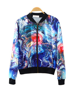 Galaxy Myth Print Ribbed Baseball Bomber Jacket JA0230026