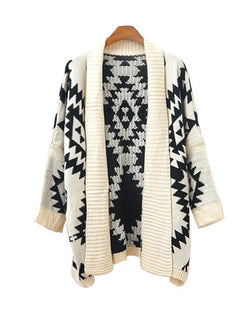 Geometrical Patterns Print Beige Bat Sleeve Tippet Cardigan ST0230074