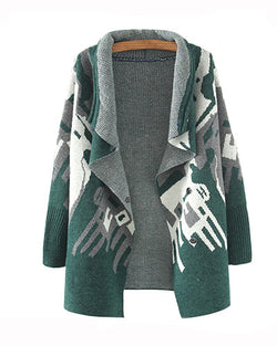 Green Asymmetrical Hem Longline Knitted Cardigan JA0230030-2