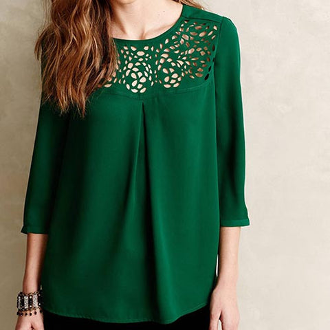 Green Casual Crew Neck Three Quarter Sleeve Hollow Out Chiffon Blouse-BL0310002-2