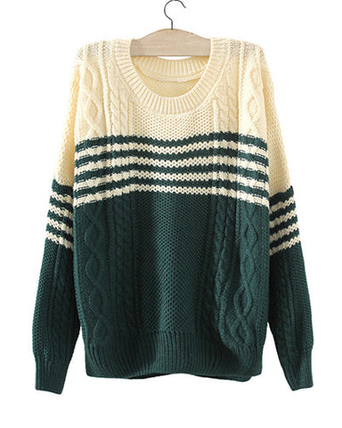Green Contrast Beige Round Neck Cable Knit Sweater ST0230054-2