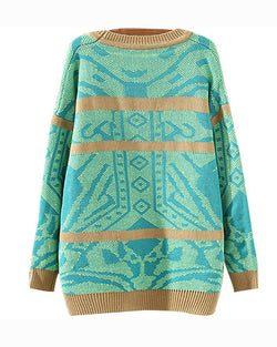 Green Geometric Pattern Oversize Cardigan With Scarf ST0230100