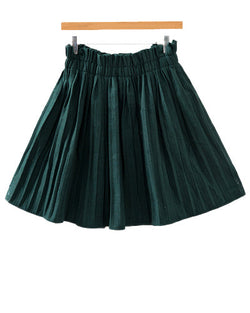 Green High Waist Woolen Pleated Skirt SK0230003-4