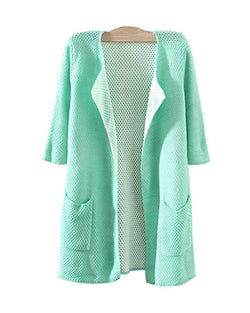 Green Three Quarter Sleeve Longerline Cardigan With Pockets JA0230003-1