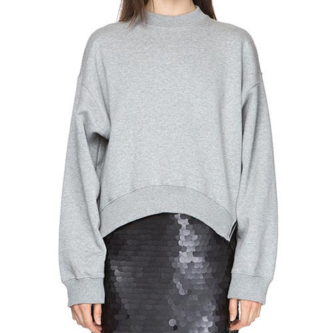Grey Casual Crew Neck Batwing Sleeve Loose Polyester Sweatshirt With Zipper Side-SS0310030