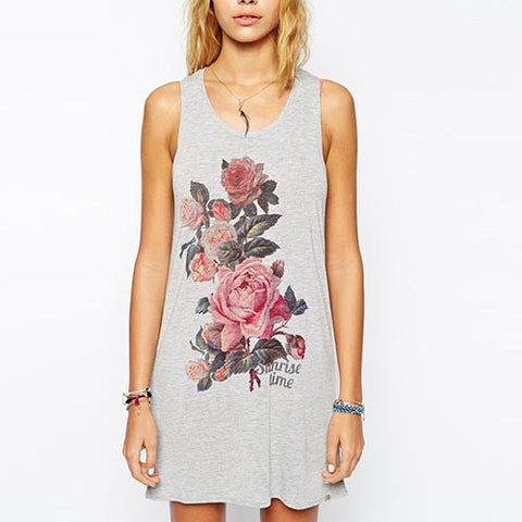 Grey Casual Floral Print Polyester T-Shirt Dress With Cut Out Back-DR0310038