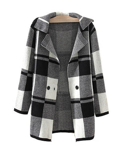Grey Check Print Longerline Knit Autumn Jacket JA0230001