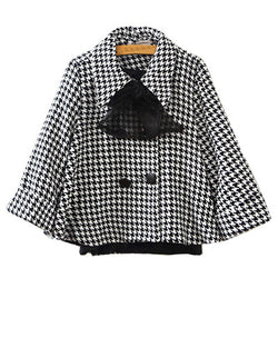 Houndstooth Print Flare Sleeve Cape Coat With Bowknot Embellishment JA0230024-1