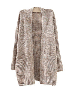 Khaki Mix Knit Longerline Cardigan With Pockets JA0230002-2