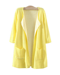 Lemon Yellow Three Quarter Sleeve Longerline Cardigan With Pockets JA0230003-3